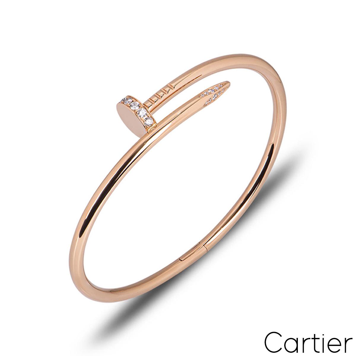 Cartier Rose Gold Diamond Juste Un Clou Bracelet Size 19 B6048519